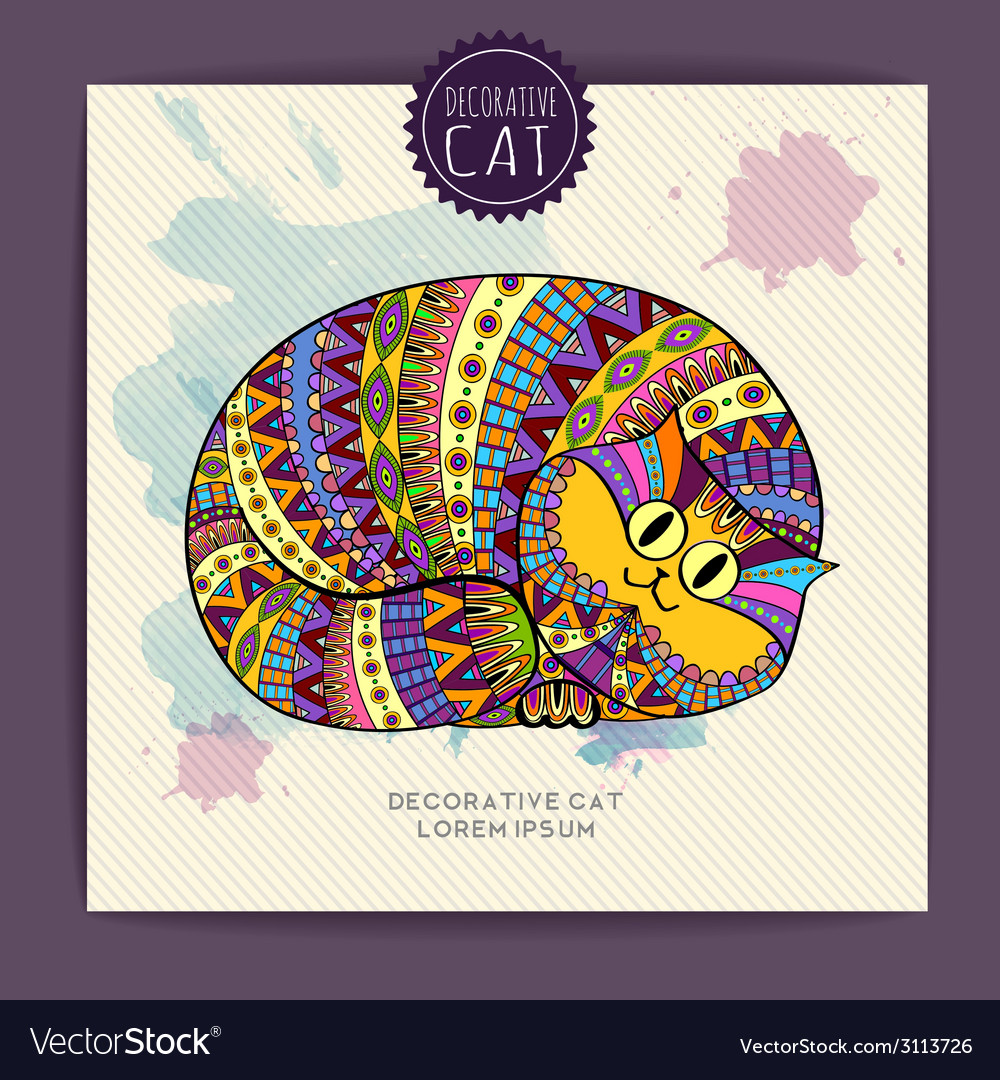 Card with decorative cat and watercolor stain vector | Price: 1 Credit (USD $1)