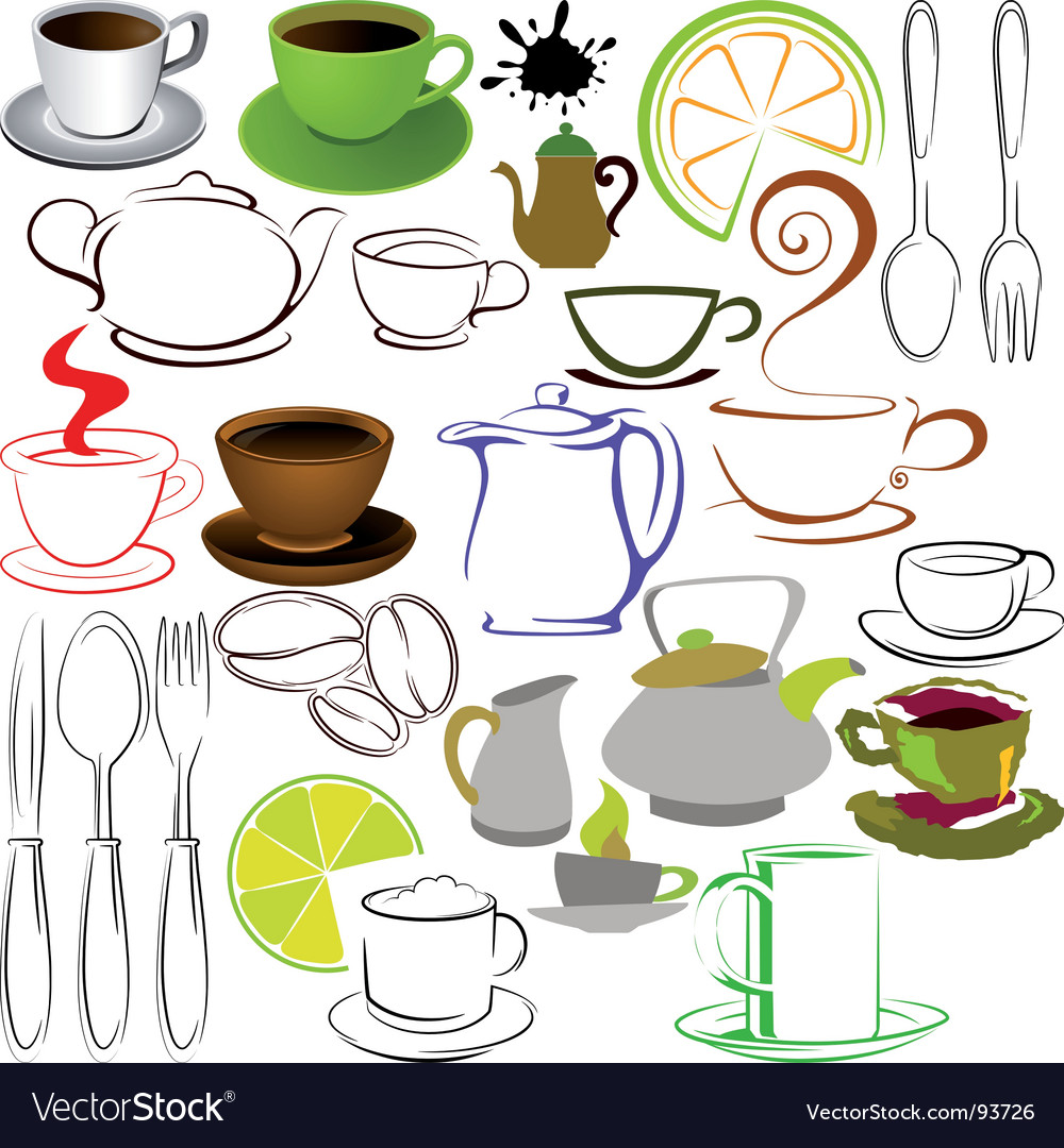 Cups and teapots vector | Price: 1 Credit (USD $1)