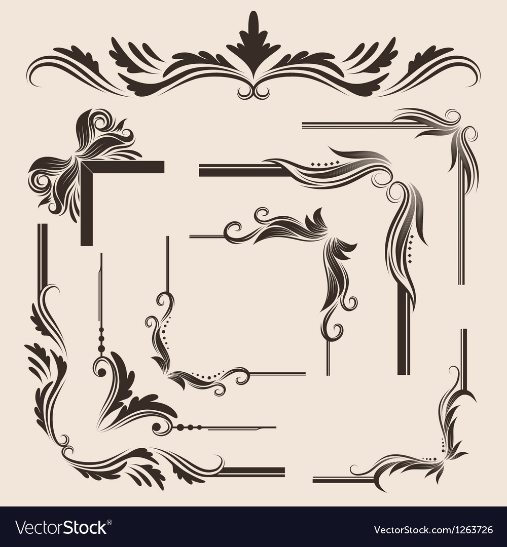 Decorative-frame-set vector | Price: 1 Credit (USD $1)