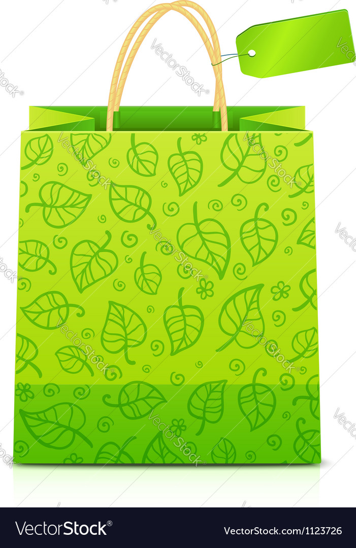 Green paper shopping bag with floral ornament vector | Price: 1 Credit (USD $1)
