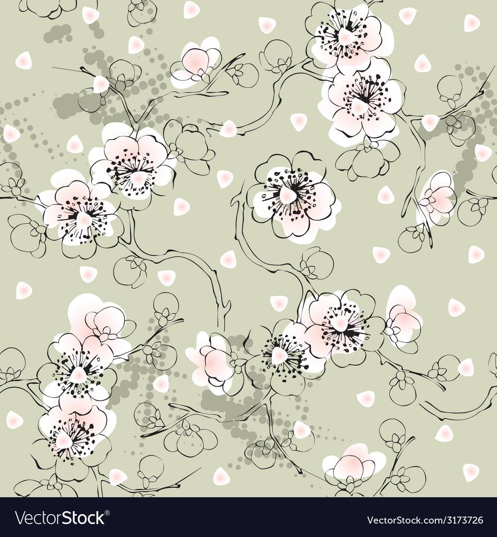 Green sakura pattern vector | Price: 1 Credit (USD $1)