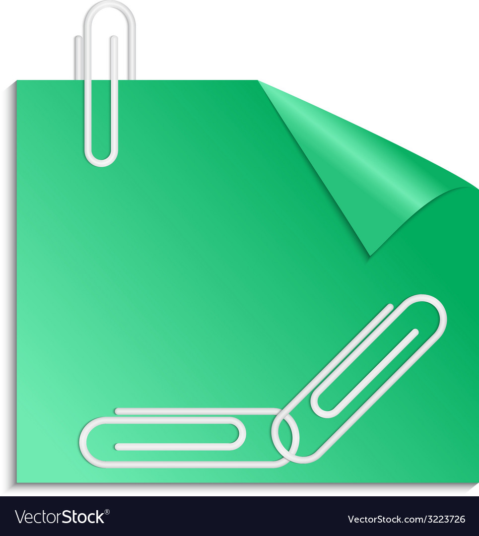 Green sticker with curled corner and paper clips vector | Price: 1 Credit (USD $1)
