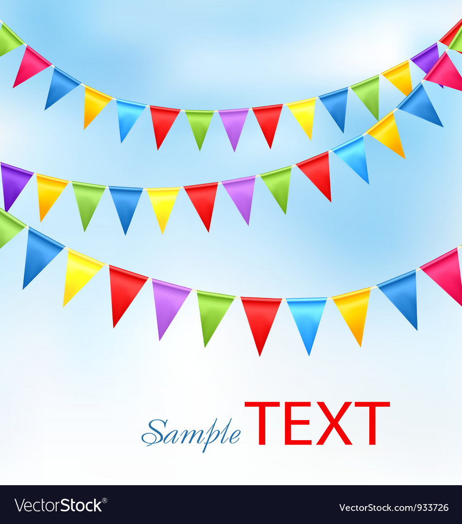 Holiday background with birthday colorful flags vector | Price: 1 Credit (USD $1)