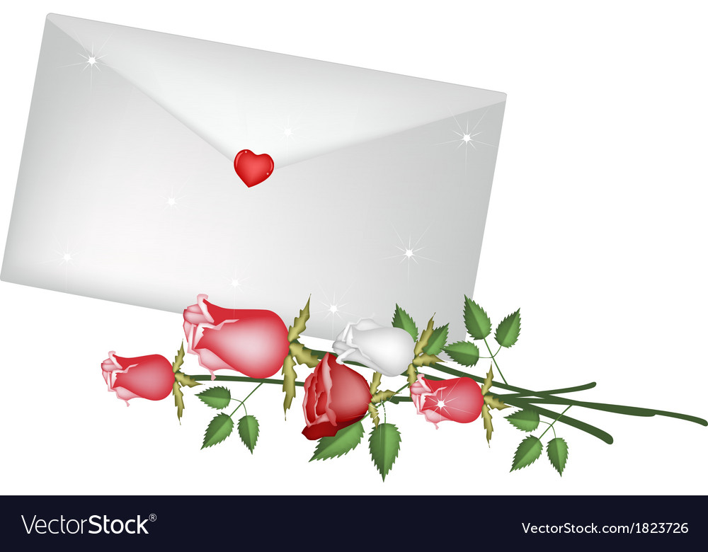 Lovely rose flower with a love letter vector | Price: 1 Credit (USD $1)