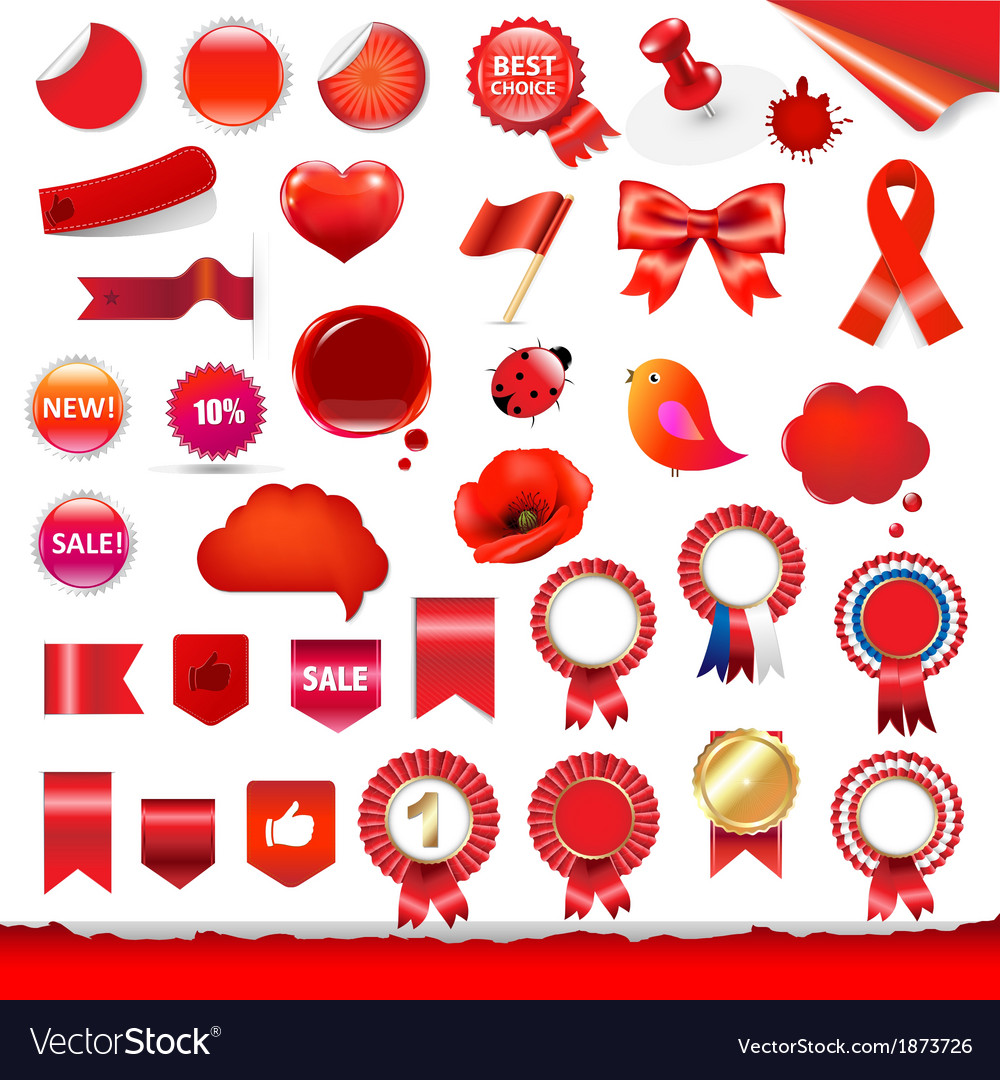Red labels and symbols set vector | Price: 1 Credit (USD $1)
