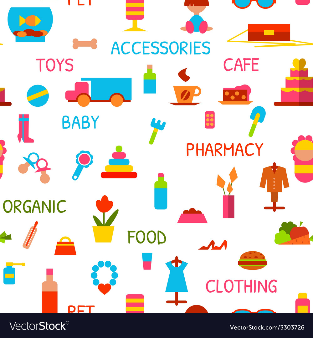 Seamless pattern with consumer goods vector | Price: 1 Credit (USD $1)