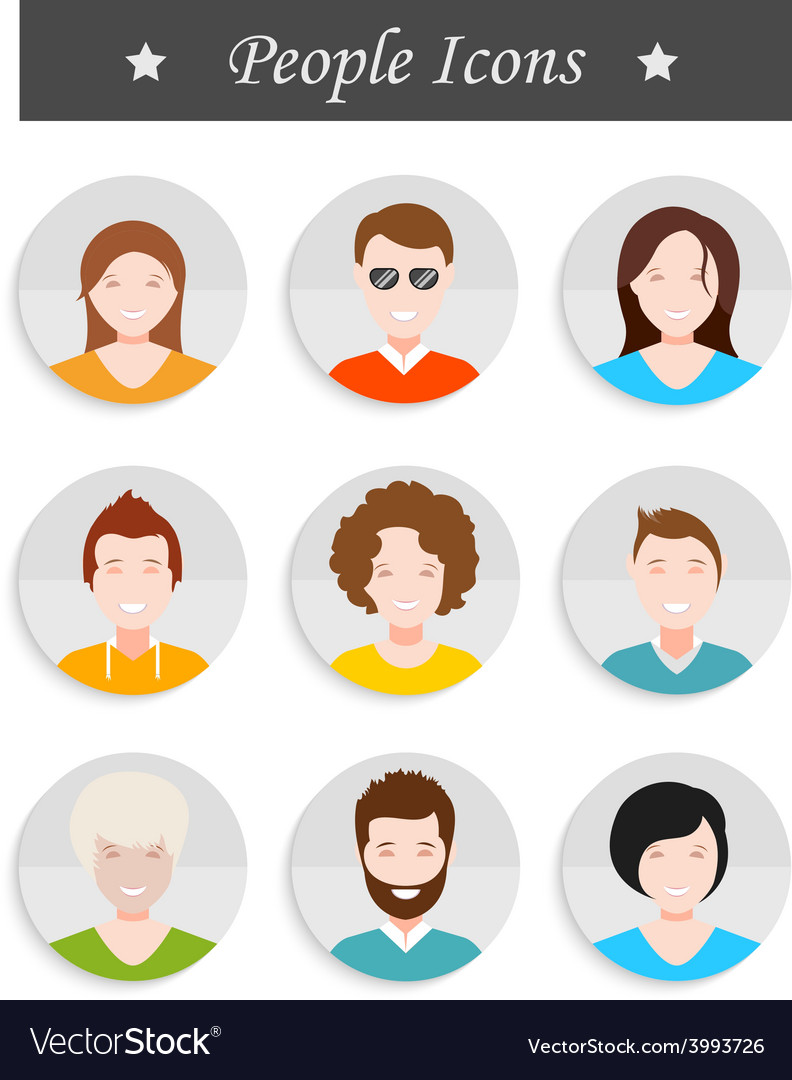 Set of avatar in style flat design vector | Price: 1 Credit (USD $1)