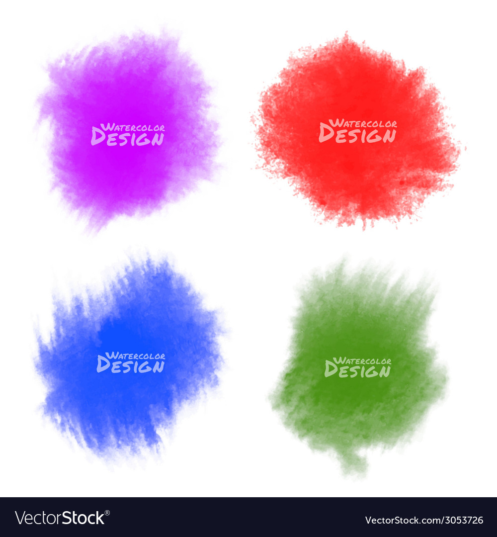 Set of colorful watercolor splatters vector | Price: 1 Credit (USD $1)