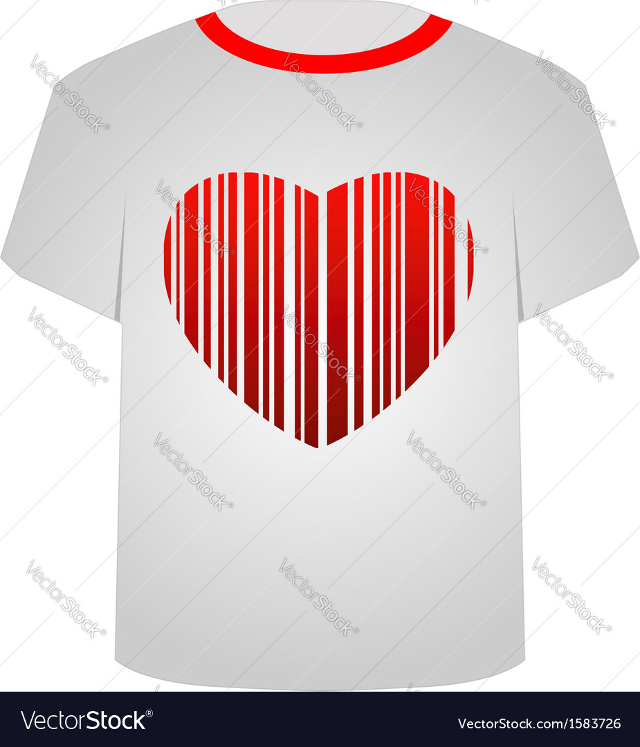 T shirt template- heart bar code vector | Price: 1 Credit (USD $1)