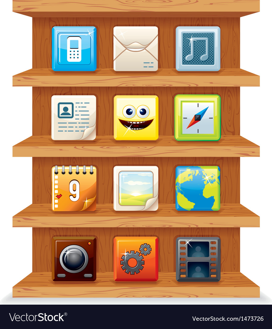 Wood shelves with computer apps icons vector | Price: 3 Credit (USD $3)