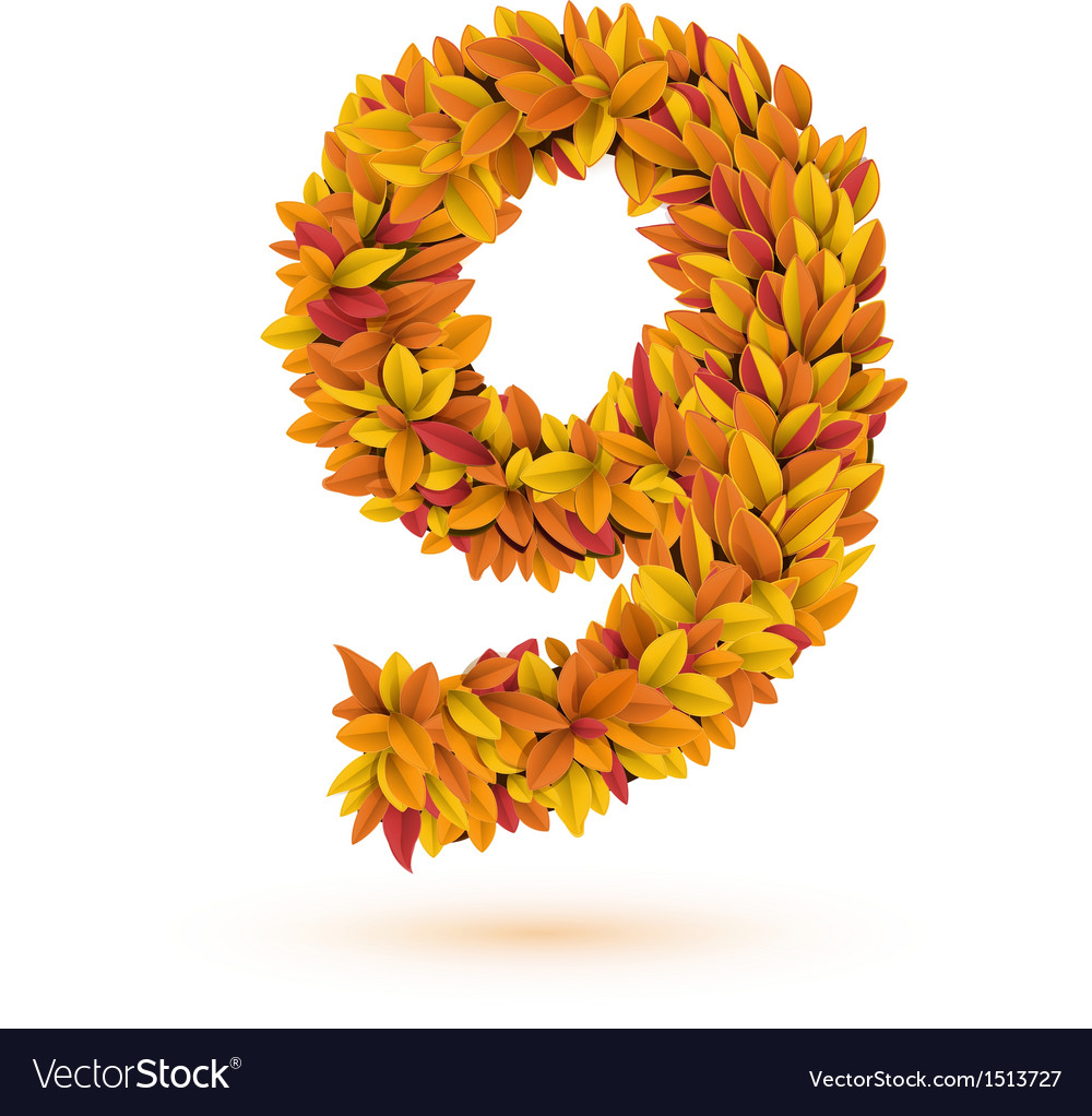 Autunm fall bright orange leaves number vector | Price: 1 Credit (USD $1)