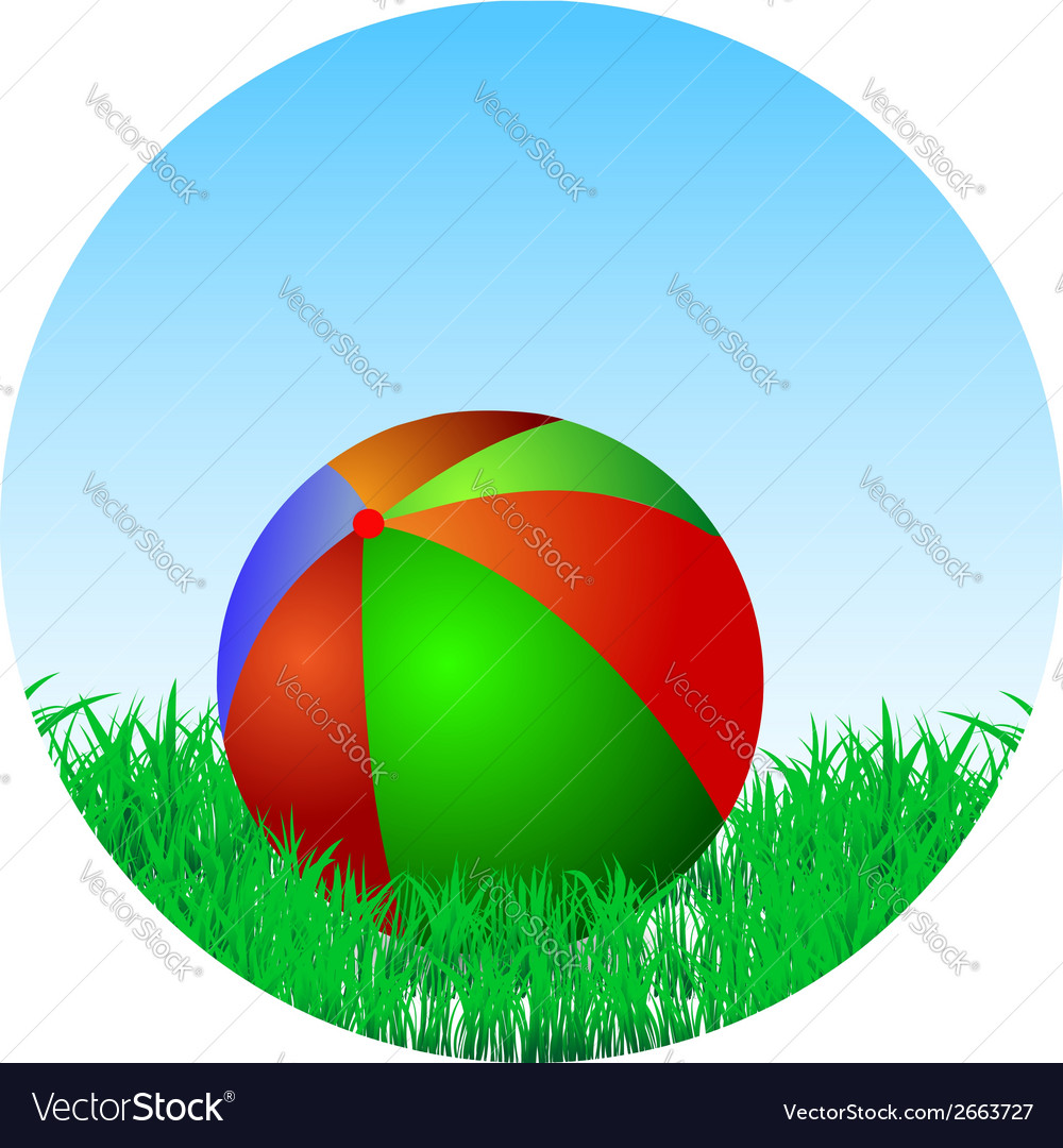 Ball is in the green grass vector | Price: 1 Credit (USD $1)