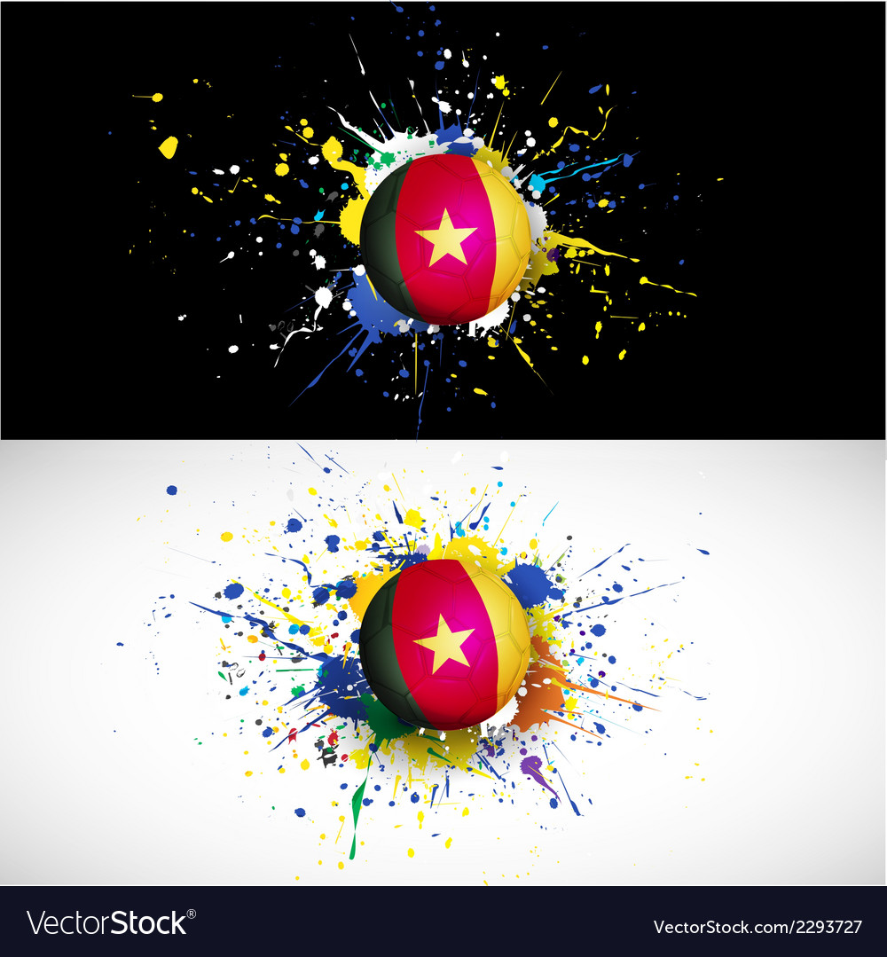 Cameroon flag with soccer ball dash on colorful vector | Price: 1 Credit (USD $1)
