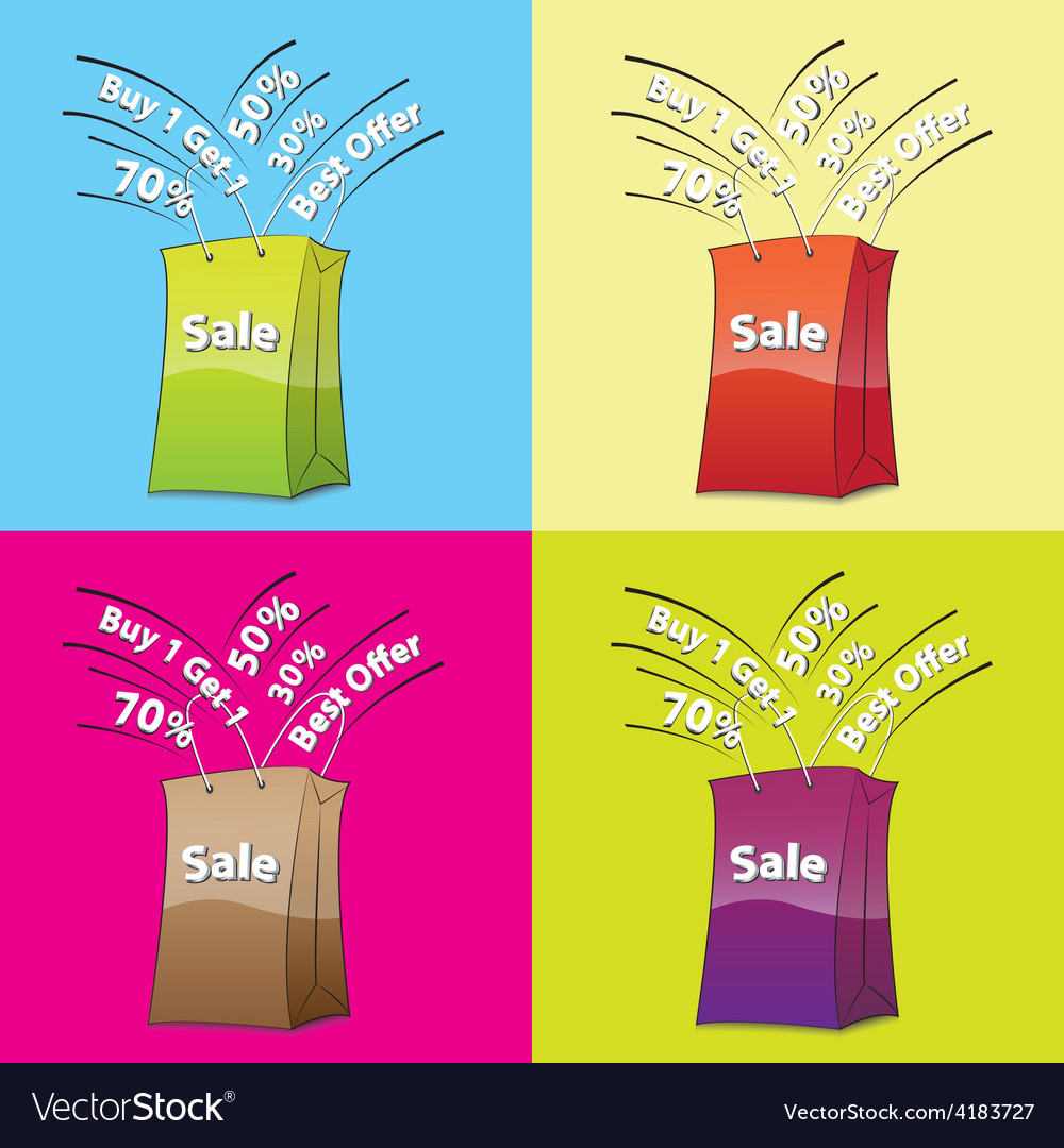 Colorful shopping bags for sale concept vector | Price: 1 Credit (USD $1)