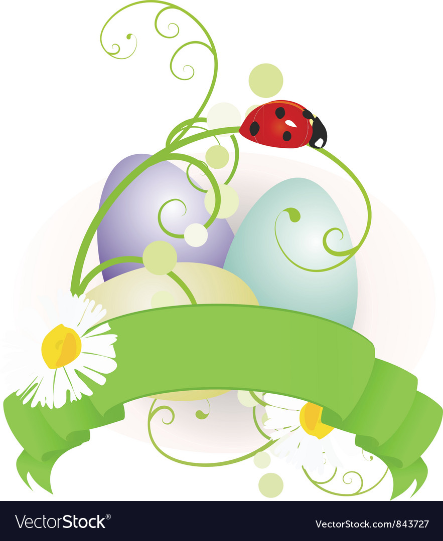 Easter eggs and scroll vector | Price: 1 Credit (USD $1)