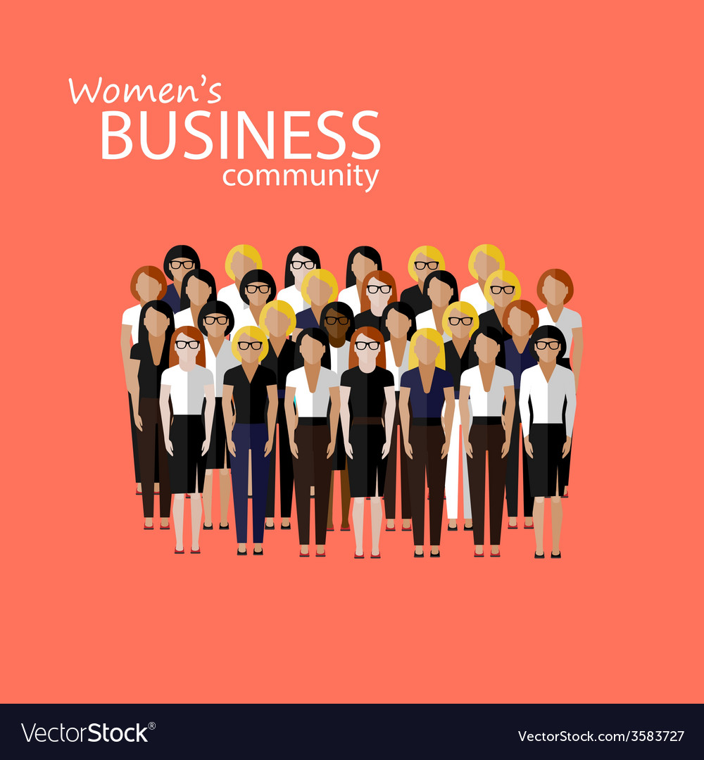 Flat of women business community a large group of vector | Price: 1 Credit (USD $1)