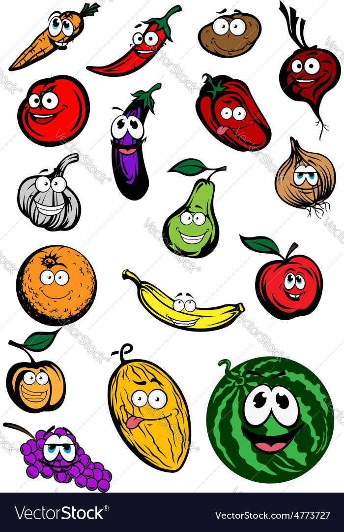 Funny cartoon fruits and vegetables characters vector | Price: 1 Credit (USD $1)