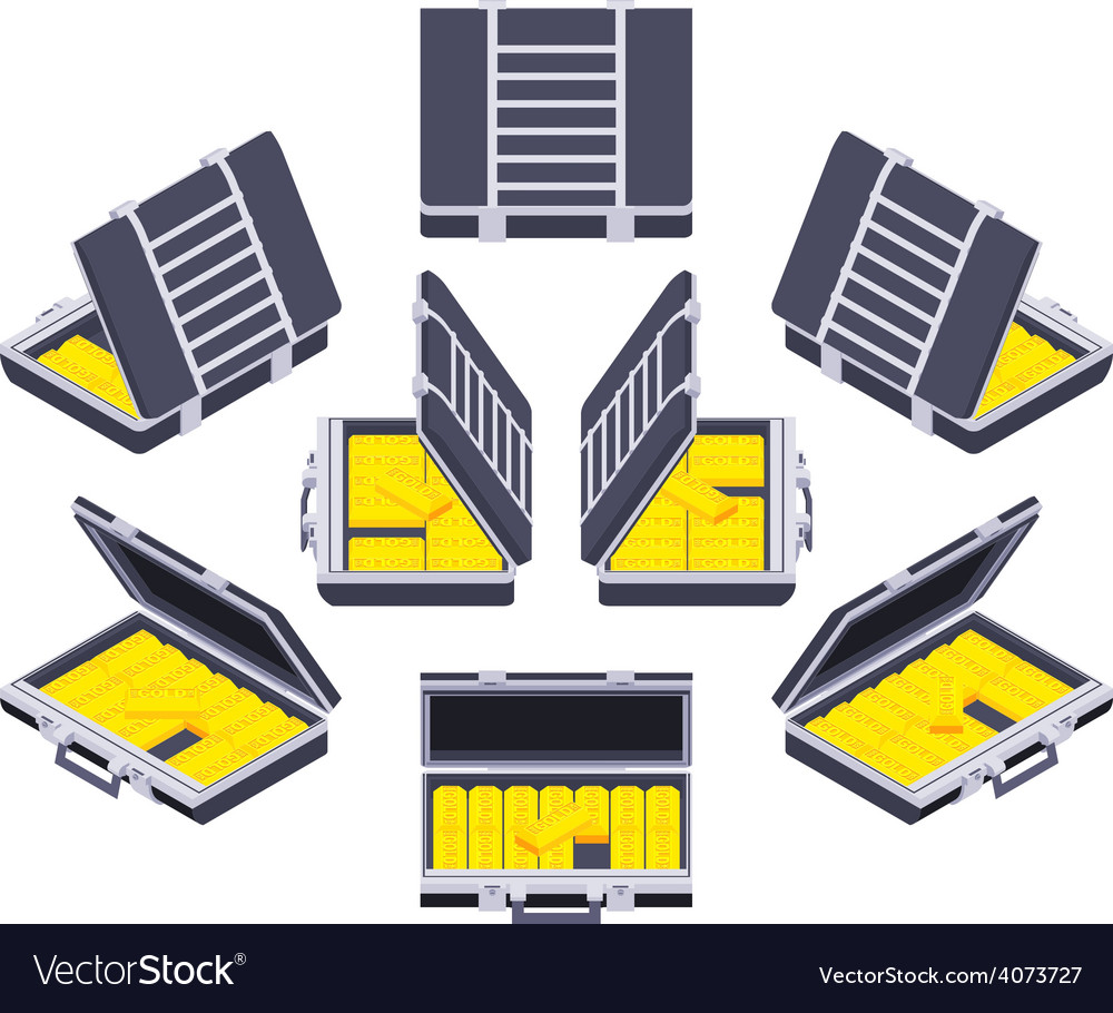 Isometric open briefcase with the golden bars vector | Price: 1 Credit (USD $1)