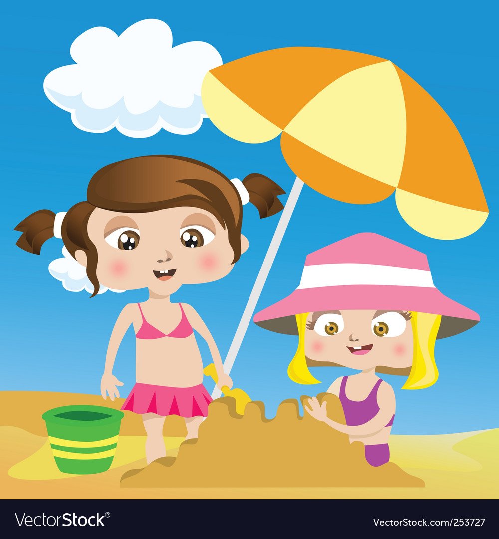 Kids on the beach vector | Price: 1 Credit (USD $1)
