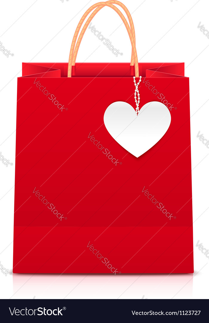 Red paper shopping bag with white heart label vector | Price: 1 Credit (USD $1)