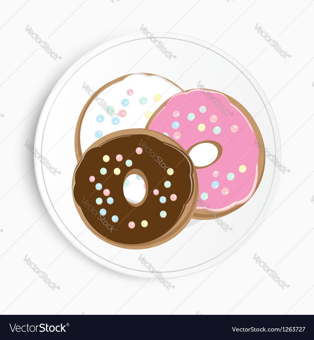 Serving of delicious doughnuts vector | Price: 1 Credit (USD $1)