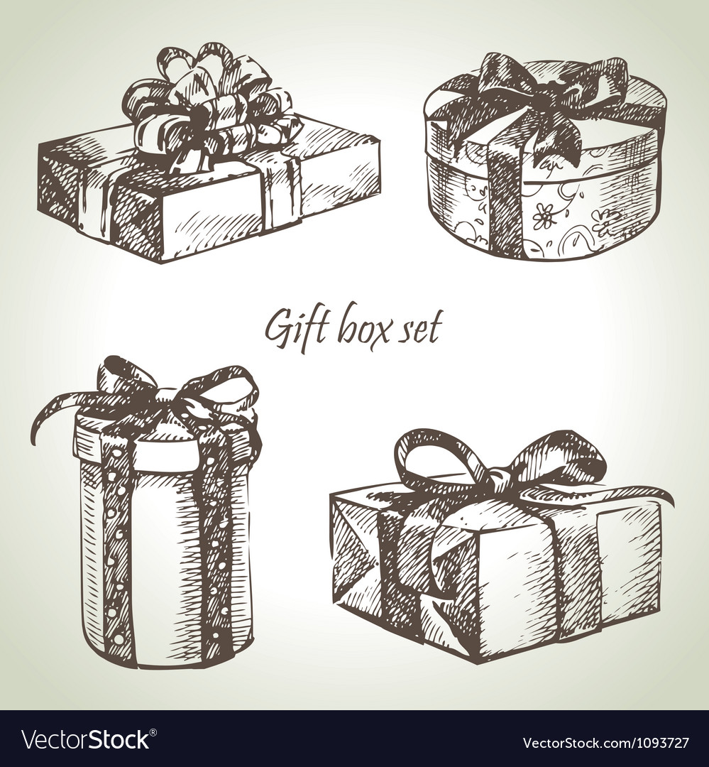 Set of gift boxes hand drawn vector | Price: 1 Credit (USD $1)