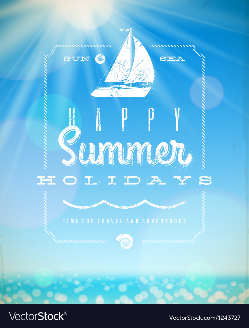 Summer holiday lettering emblem with yacht vector | Price: 3 Credit (USD $3)