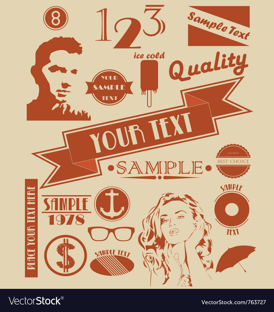 Various retro signs and symbols vector | Price: 1 Credit (USD $1)