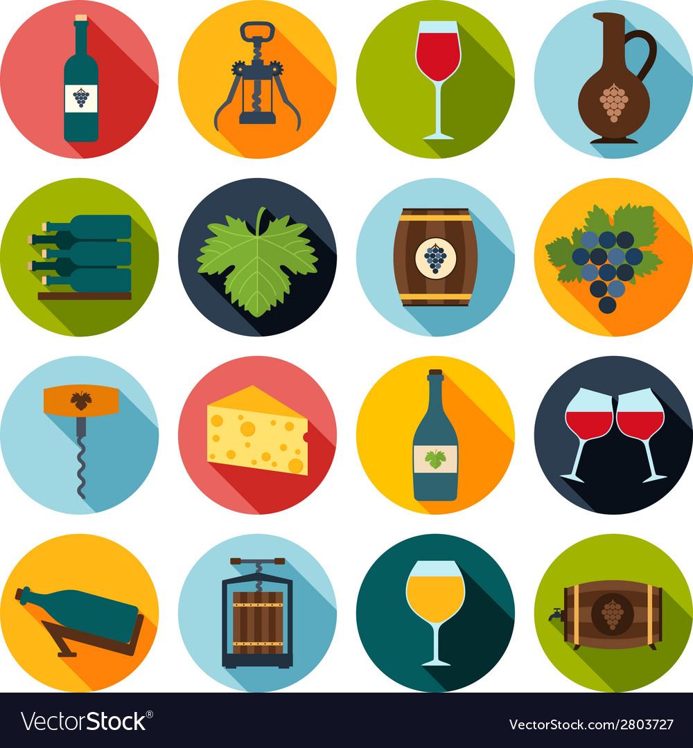 Wine icons set vector | Price: 1 Credit (USD $1)