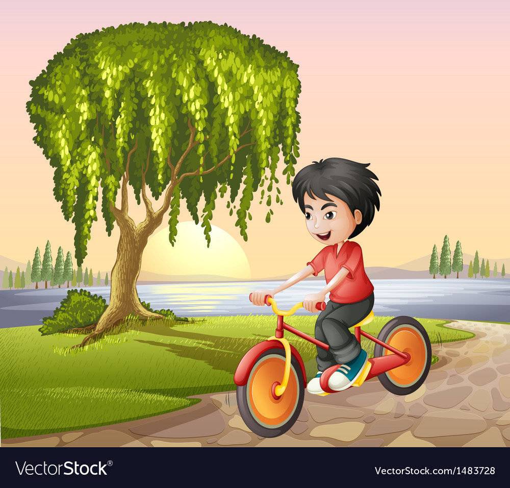 A boy biking vector | Price: 1 Credit (USD $1)
