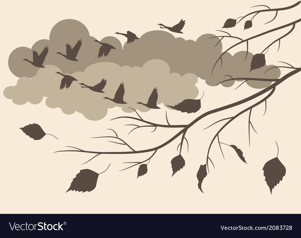 Autumn birds fly south vector | Price: 1 Credit (USD $1)