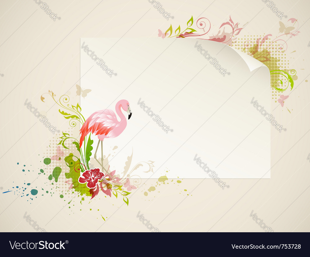 Banner with pink flamingo and flowers vector | Price: 1 Credit (USD $1)