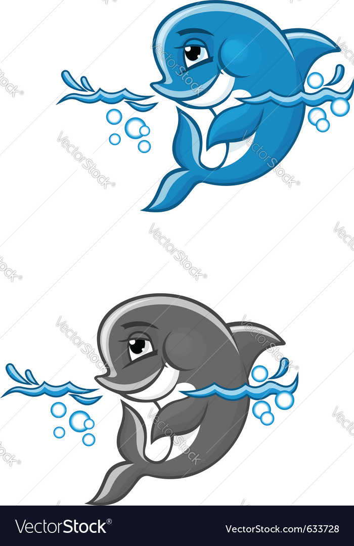 Beautiful blue dolphin in water for nature or chil vector | Price: 1 Credit (USD $1)