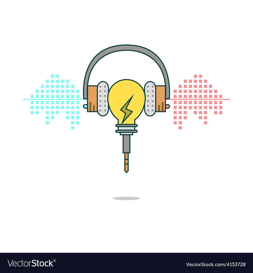 Isolated cartoon light bulb listening music with h vector | Price: 1 Credit (USD $1)