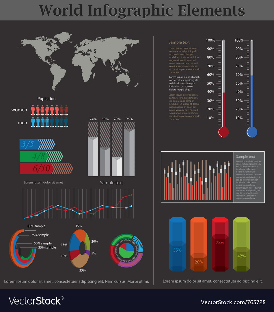 World infographic elements vector   Price: 1 Credit (USD $1)
