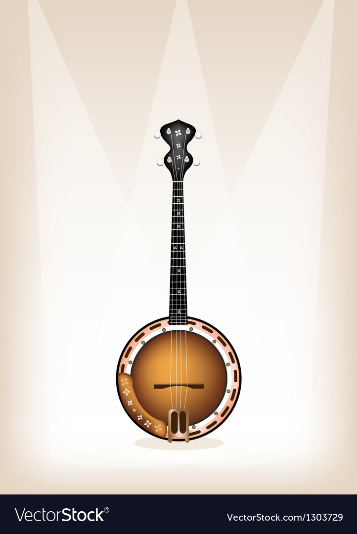 A beautiful banjo on brown stage background vector | Price: 1 Credit (USD $1)