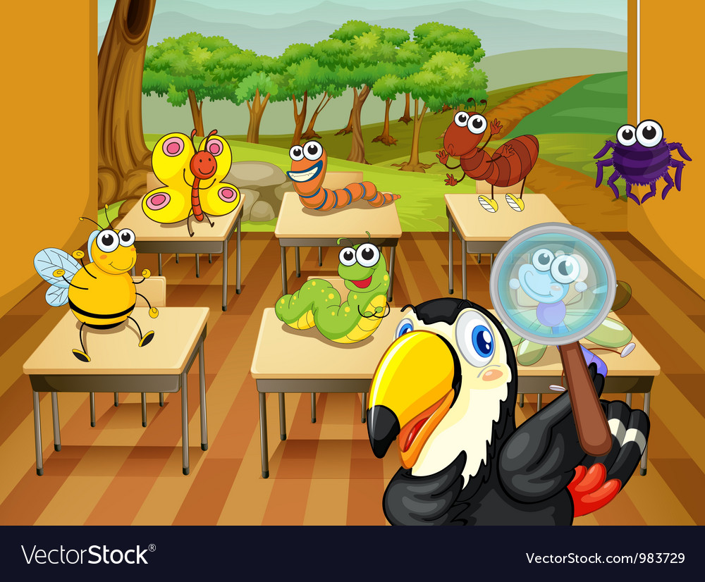 Animals in classroom vector | Price: 3 Credit (USD $3)