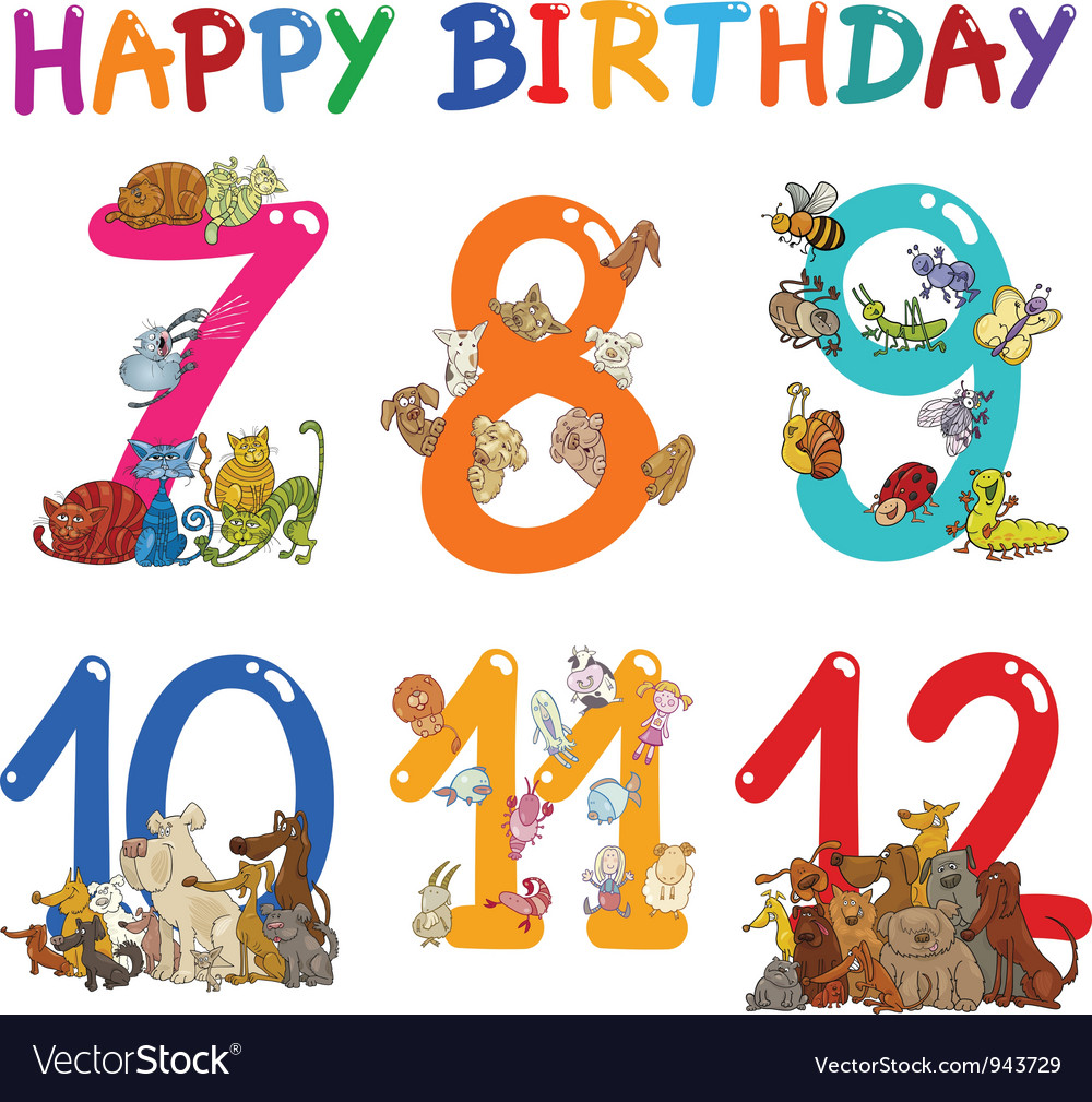 Birthday anniversary cartoons set vector | Price: 3 Credit (USD $3)