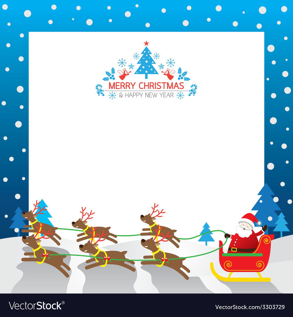 Christmas santa reindeer border vector | Price: 1 Credit (USD $1)