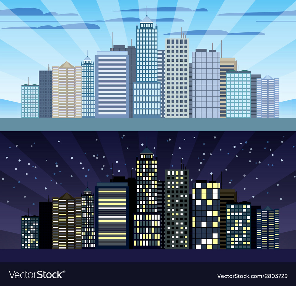 Cityscape tileable border day and night vector | Price: 1 Credit (USD $1)