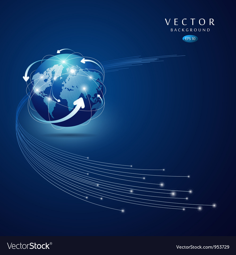 Globe network connection blue background vector | Price: 1 Credit (USD $1)