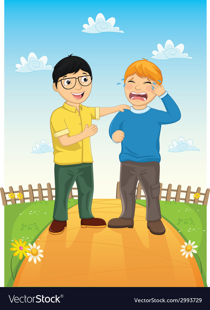 Kid consoling friend vector | Price: 1 Credit (USD $1)