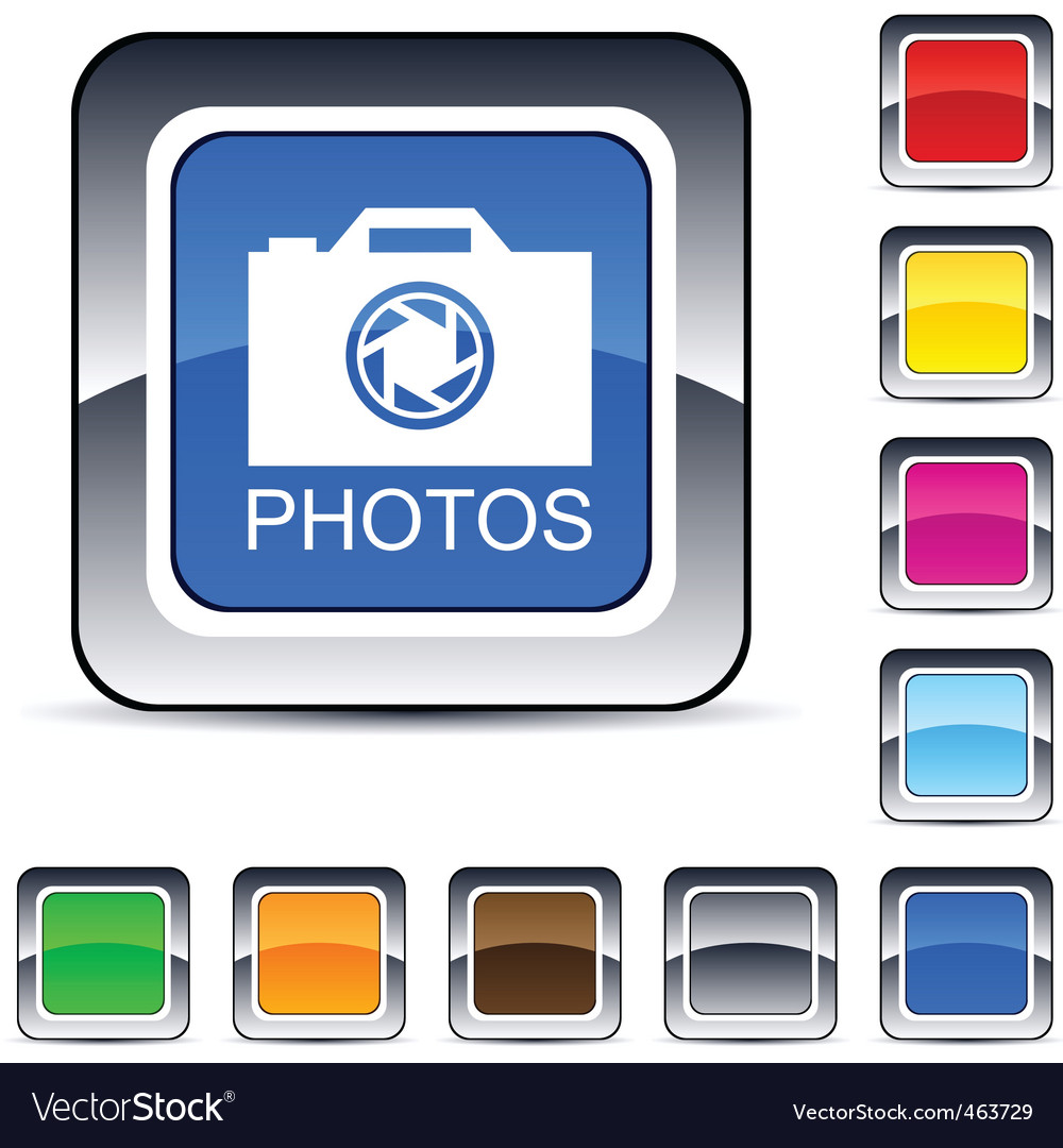 Photos square button vector | Price: 1 Credit (USD $1)