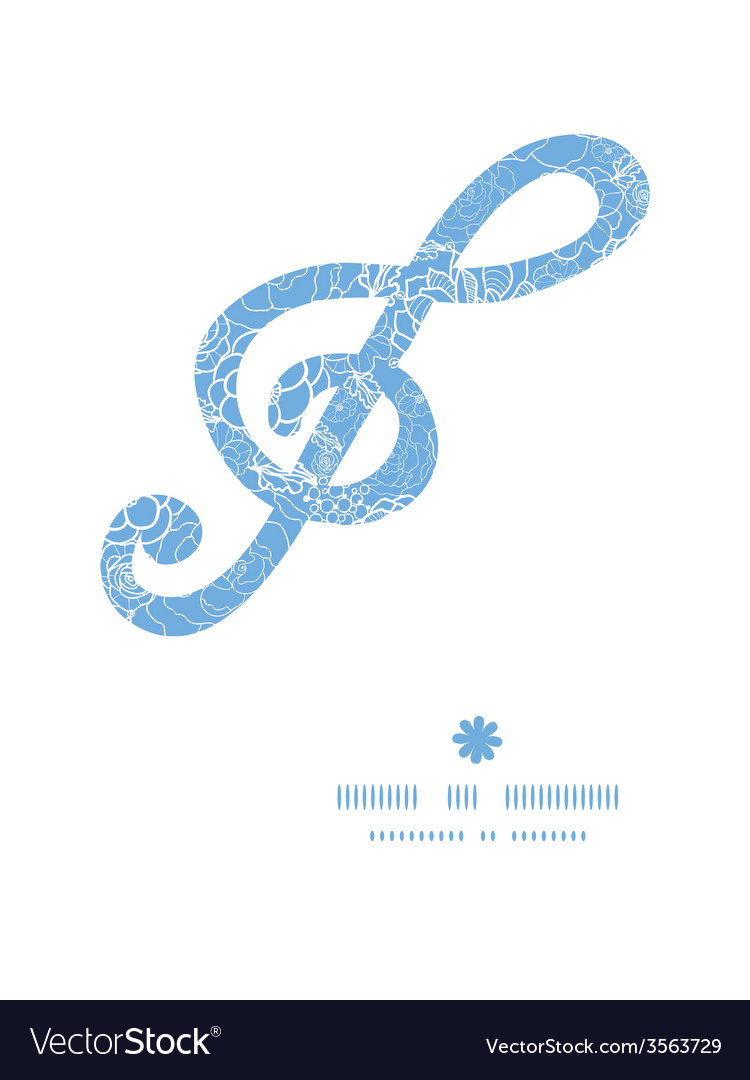 Purple lace flowers g clef musical silhouette vector | Price: 1 Credit (USD $1)