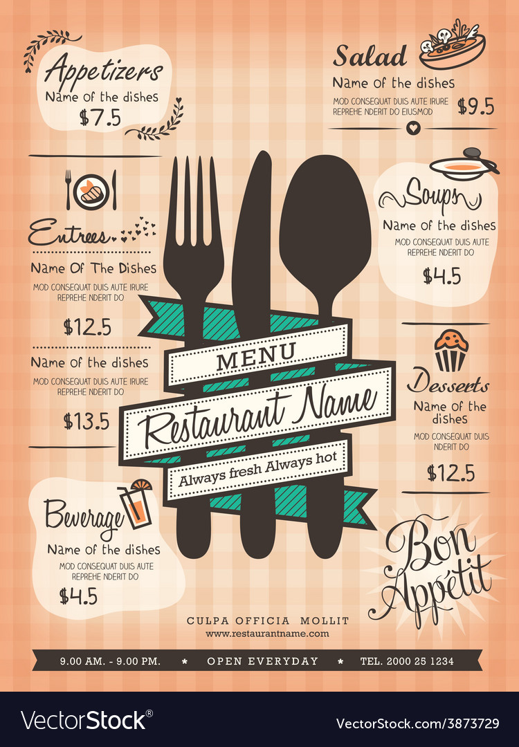 Restaurant menu design template layout vector | Price: 1 Credit (USD $1)