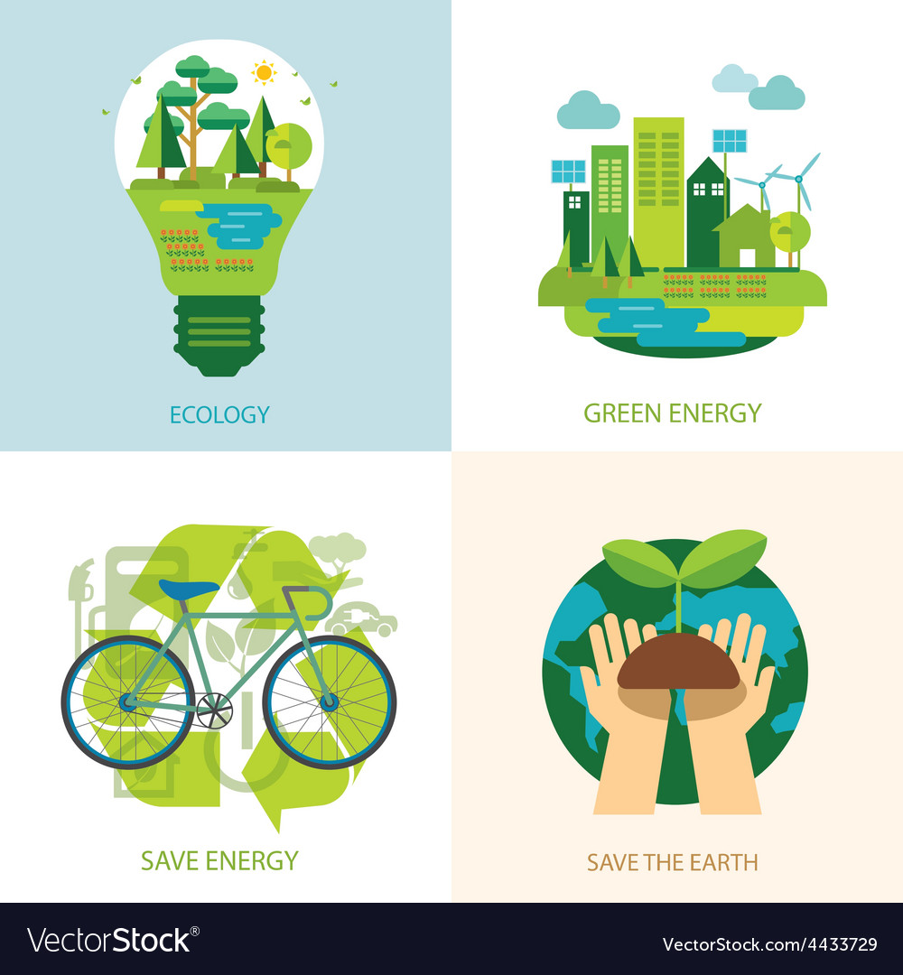 Save the world and clean energy concept vector | Price: 1 Credit (USD $1)