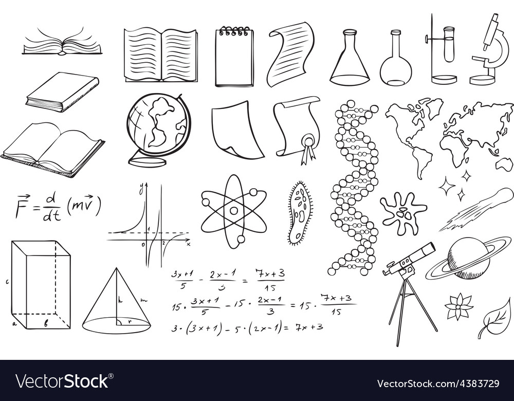 Science and education set vector | Price: 1 Credit (USD $1)