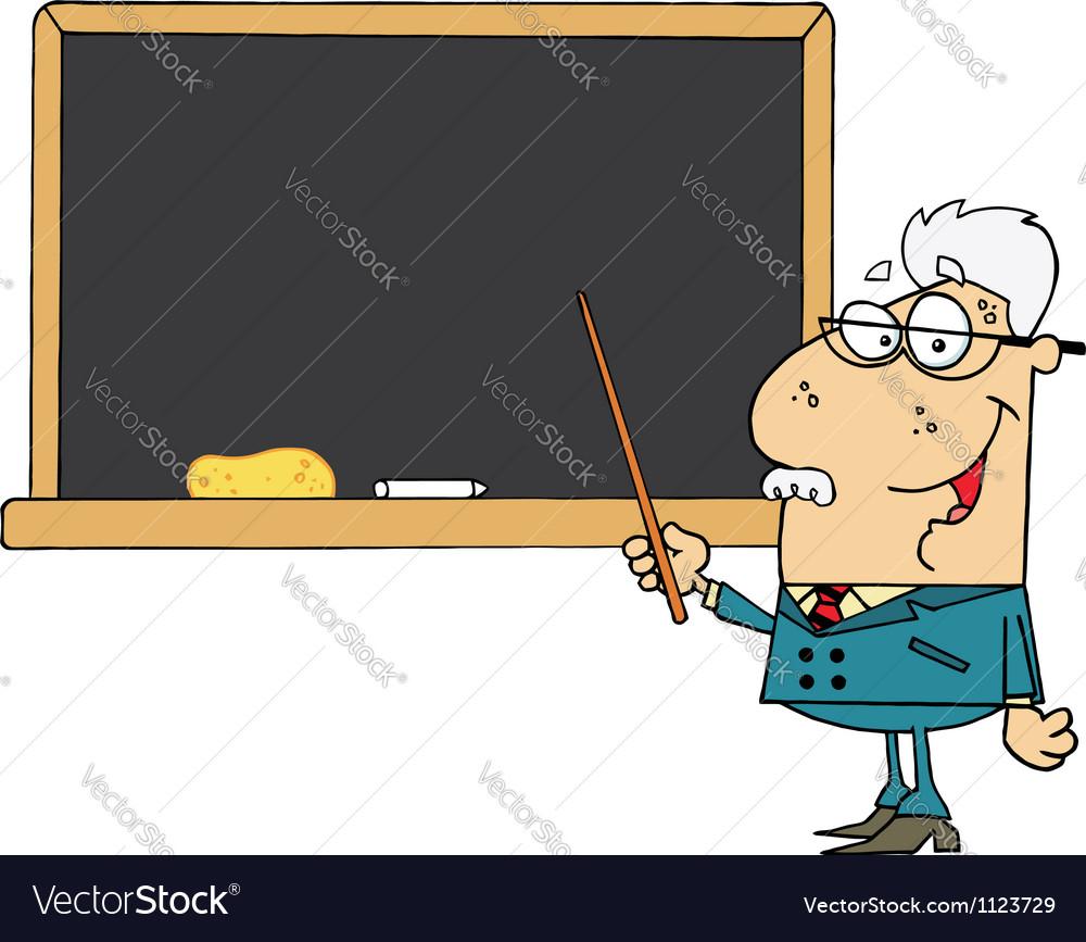 Senior male school teacher pointing chalk board vector | Price: 1 Credit (USD $1)