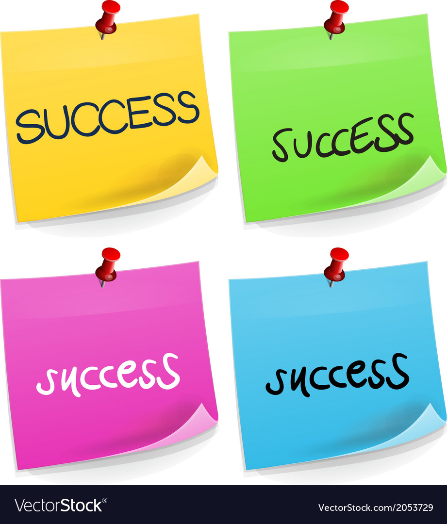 Success sticky note vector   Price: 1 Credit (USD $1)