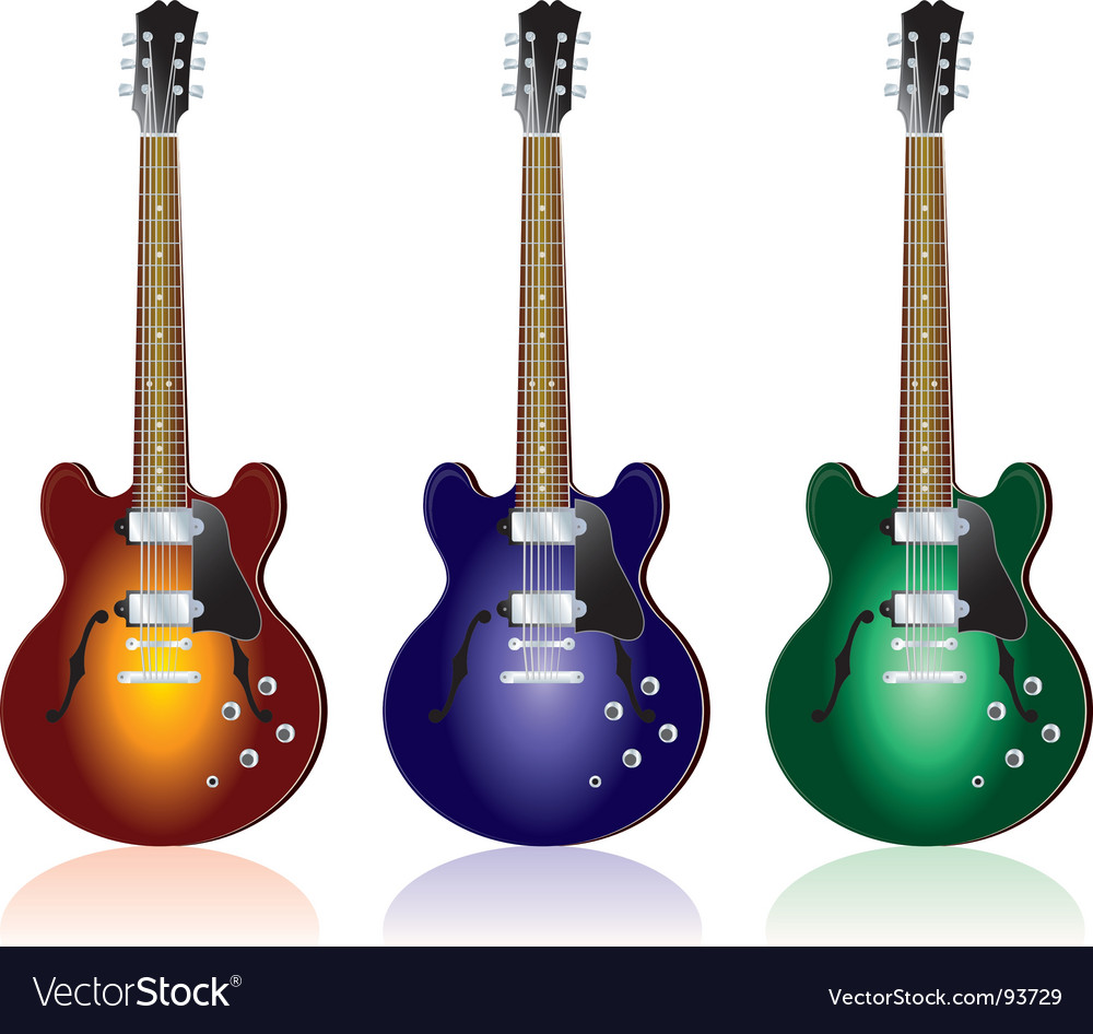Three guitars vector | Price: 1 Credit (USD $1)